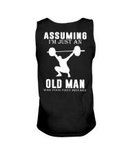 Weight lifting assuming old man Unisex Tank thumbnail