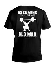Weight lifting assuming old man V-Neck T-Shirt thumbnail