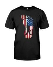 Bigfoot footprint America flag Classic T-Shirt thumbnail