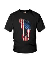 Bigfoot footprint America flag Youth T-Shirt thumbnail