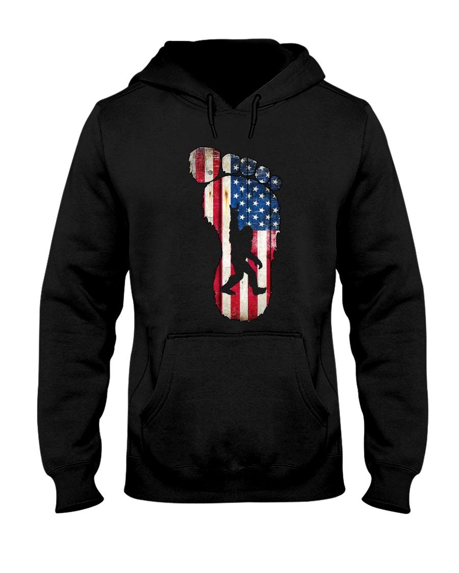 Bigfoot footprint America flag Hooded Sweatshirt