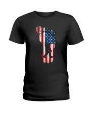 Bigfoot footprint America flag Ladies T-Shirt thumbnail