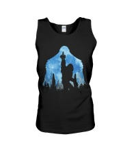 Bigfoot middle finger in the forest ver blue moon Unisex Tank thumbnail