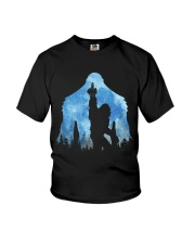 Bigfoot middle finger in the forest ver blue moon Youth T-Shirt thumbnail