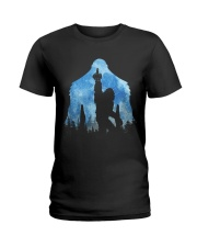 Bigfoot middle finger in the forest ver blue moon Ladies T-Shirt thumbnail