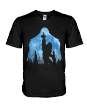 Bigfoot middle finger in the forest ver blue moon V-Neck T-Shirt thumbnail
