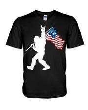 America Flag Bigfoot V-Neck T-Shirt thumbnail
