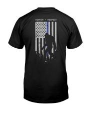 Bigfoot Thin Blue Line USA Flag Backside Classic T-Shirt back