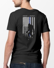 Bigfoot Thin Blue Line USA Flag Backside Classic T-Shirt lifestyle-mens-crewneck-back-5