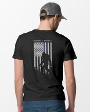 Bigfoot Thin Blue Line USA Flag Backside Classic T-Shirt lifestyle-mens-crewneck-back-6