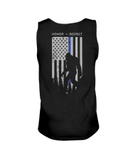 Bigfoot Thin Blue Line USA Flag Backside Unisex Tank thumbnail