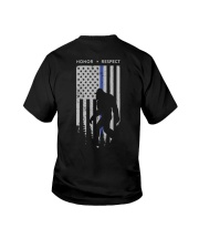 Bigfoot Thin Blue Line USA Flag Backside Youth T-Shirt thumbnail