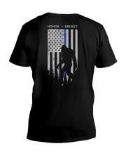 Bigfoot Thin Blue Line USA Flag Backside V-Neck T-Shirt thumbnail