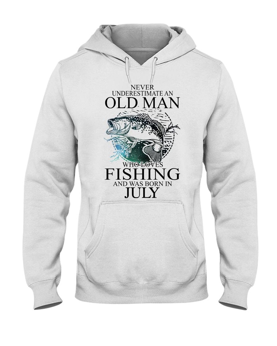 Never underestimate a man loves fishing - july Hooded Sweatshirt