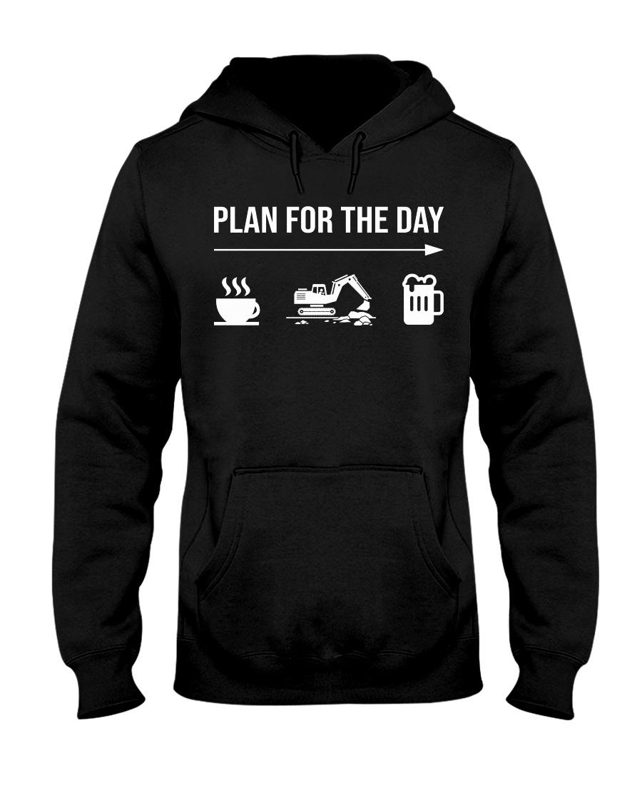 Excavator plan for the day men Hooded Sweatshirt