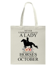 A lady who loves horses and was born in october Tote Bag thumbnail