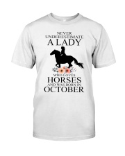 A lady who loves horses and was born in october Classic T-Shirt thumbnail