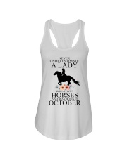 A lady who loves horses and was born in october Ladies Flowy Tank thumbnail