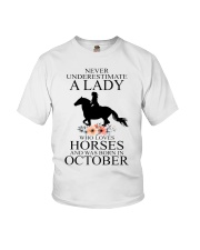 A lady who loves horses and was born in october Youth T-Shirt thumbnail