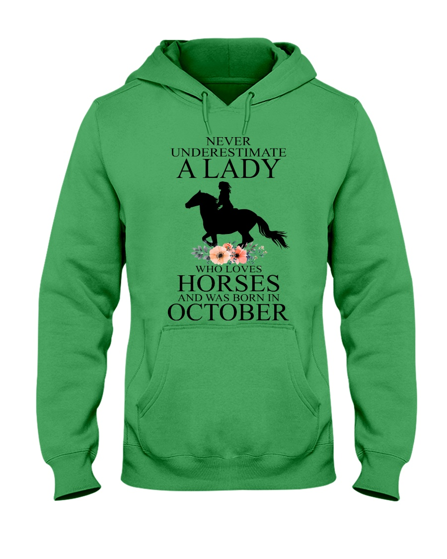A lady who loves horses and was born in october Hooded Sweatshirt