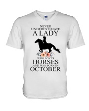 A lady who loves horses and was born in october V-Neck T-Shirt thumbnail