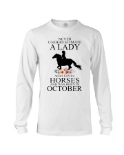 A lady who loves horses and was born in october Long Sleeve Tee thumbnail
