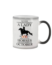 A lady who loves horses and was born in october Color Changing Mug thumbnail