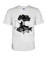Bigfoot and fish - Year end sale V-Neck T-Shirt thumbnail