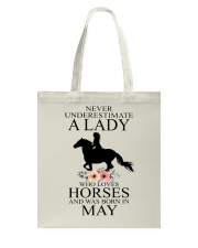 A lady who loves horses and was born in May Tote Bag thumbnail