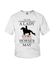 A lady who loves horses and was born in May Youth T-Shirt thumbnail
