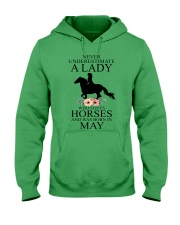 A lady who loves horses and was born in May Hooded Sweatshirt front