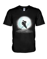 Playing hockey under the moon V-Neck T-Shirt thumbnail