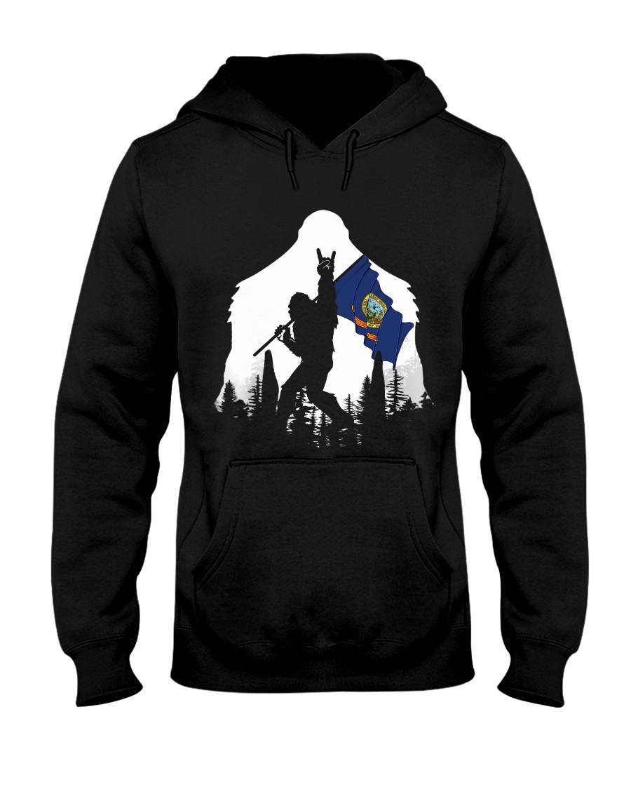 Idaho Flag Bigfoot Rock and roll Hooded Sweatshirt