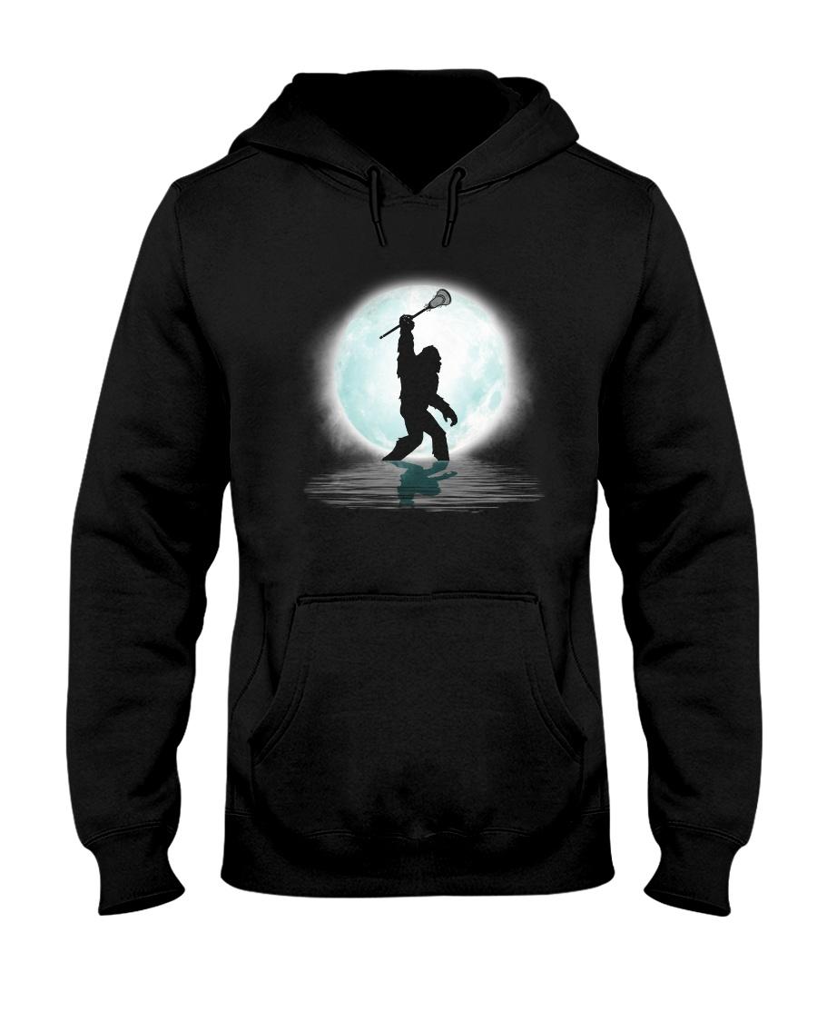 Bigfoot lacrosse under the moon Hooded Sweatshirt