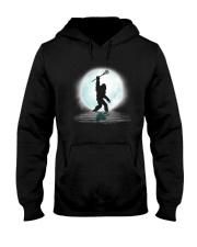 Bigfoot lacrosse under the moon Hooded Sweatshirt front