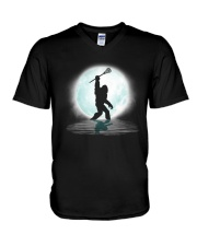 Bigfoot lacrosse under the moon V-Neck T-Shirt thumbnail