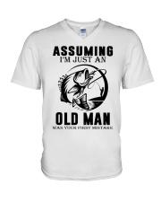 fishing old man V-Neck T-Shirt thumbnail