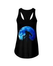 Bigfoot and blue moon Ladies Flowy Tank thumbnail
