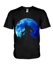 Bigfoot and blue moon V-Neck T-Shirt thumbnail