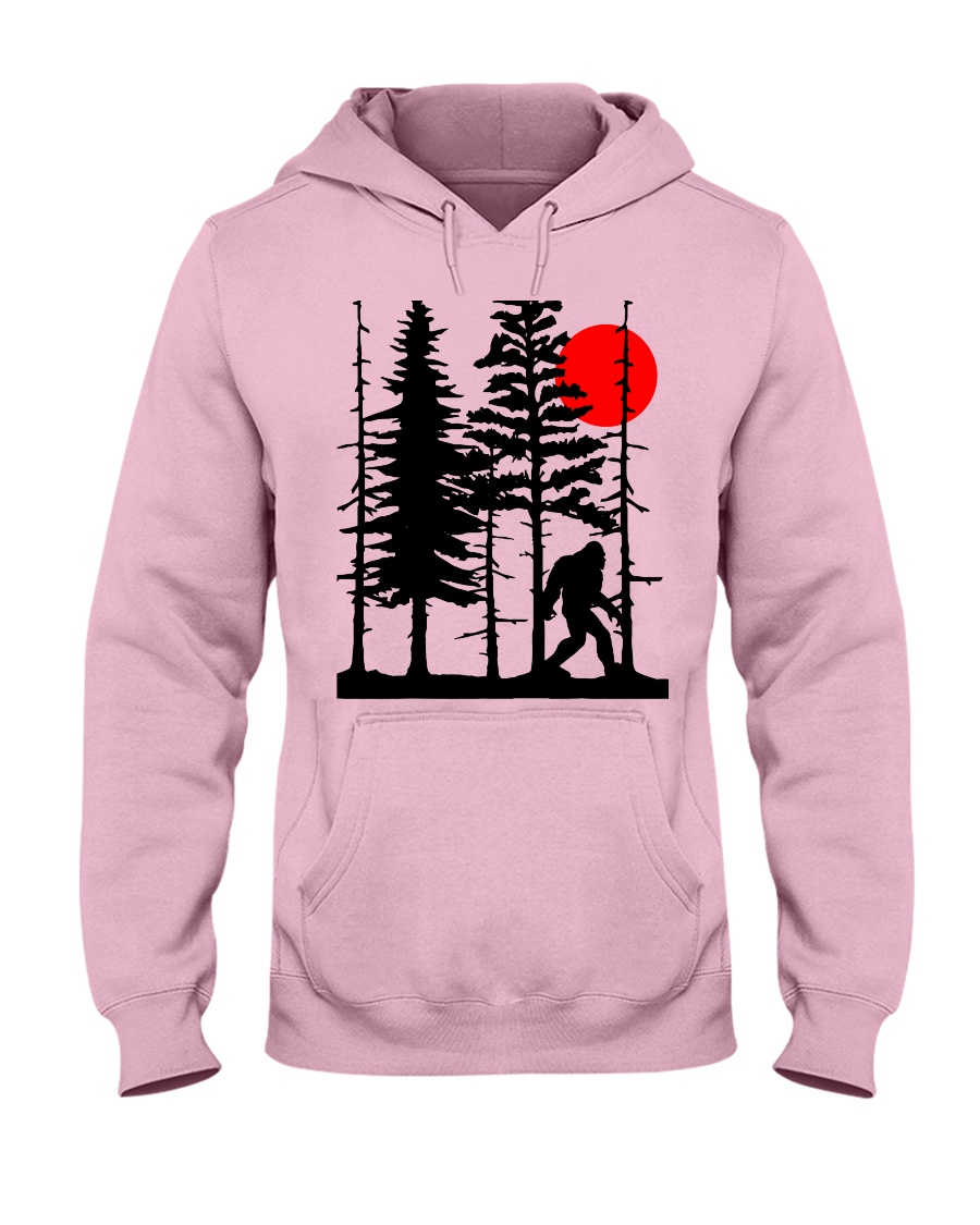 Bigfoot Hiding in Forest Hooded Sweatshirt