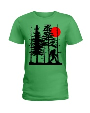 Bigfoot Hiding in Forest Ladies T-Shirt thumbnail