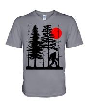 Bigfoot Hiding in Forest V-Neck T-Shirt thumbnail