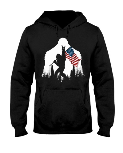 Bigfoot USA flag in the forest