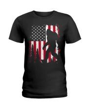 Bigfoot  American USA Flag Ladies T-Shirt thumbnail
