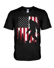 Bigfoot  American USA Flag V-Neck T-Shirt thumbnail