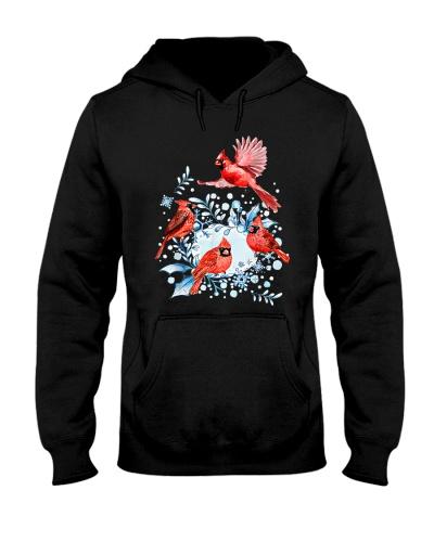 Beautiful Red Cardinal Birds Winter Scene