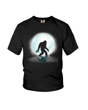 Funny bigfoot hand gesture under the moon Youth T-Shirt thumbnail