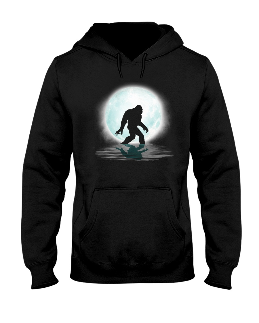 Funny bigfoot hand gesture under the moon Hooded Sweatshirt