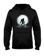 Funny bigfoot hand gesture under the moon Hooded Sweatshirt front