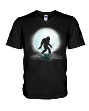 Funny bigfoot hand gesture under the moon V-Neck T-Shirt thumbnail